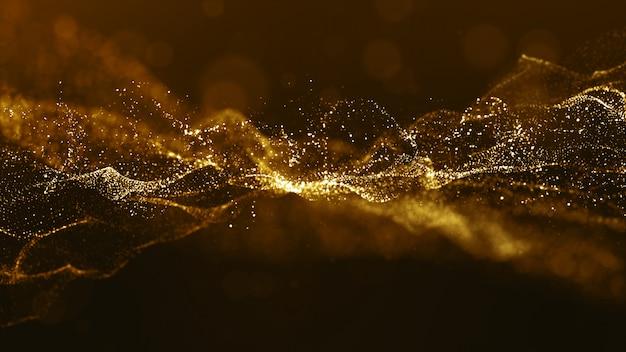Abstrakte goldfarbdigitale partikel bewegen mit bokeh und hellem hintergrund wellenartig