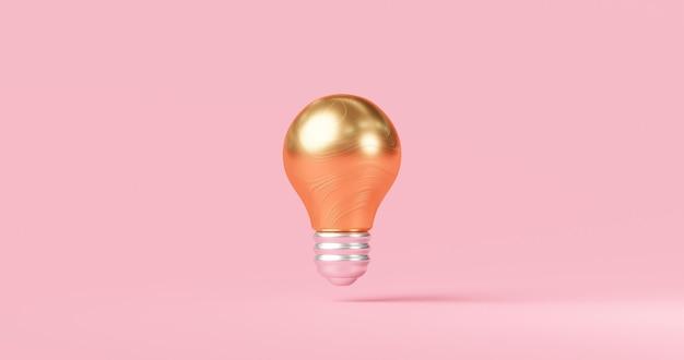 Abstrakte goldideenglühbirne und innovatives kreatives konzept auf inspirationsrosahintergrund mit erfolgreicher erfindung des elektrischen lampendesigns. 3d-rendering.