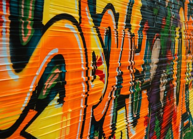 Abstrakte graffiti, leuchtende farben auf stretchfolie