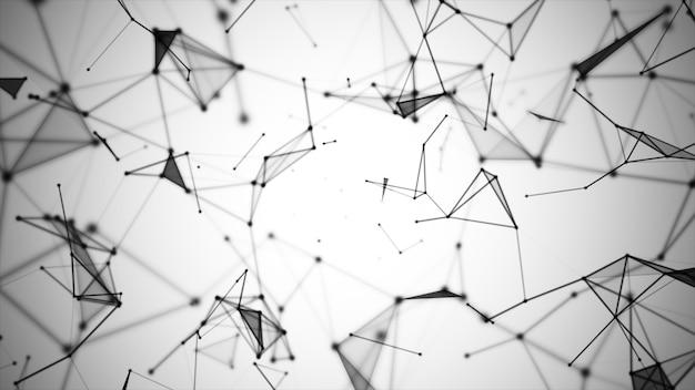Abstrakte grafik bestehend aus punkten, linien und verbindung, internet-technologie.