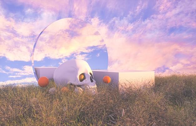 Abstrakte halloween-szene mit schädel.