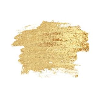 Abstrakte hand gezeichneter goldener luxusfleck, lokalisiert auf weißem hintergrund. goldmetallbeschaffenheit. konzept der hochzeit, urlaub, geburtstag, weihnachten.
