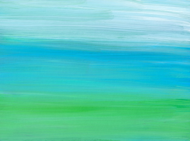 Abstrakte hellblaue, grüne und weiße hintergrundmalerei. zeitgenössische ölgemälde. weiche pinselstriche auf papier.