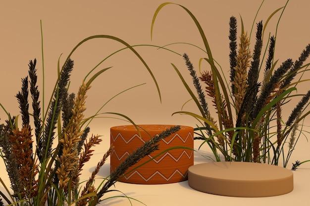 Abstrakte herbstszene mit trockenen pflanzen und geometrischen formen zylinderpodest in orangefarbenem hintergrund