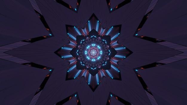 Abstrakte illustration einer fraktalen kunst mit neonlichtern - groß für hintergründe und tapeten