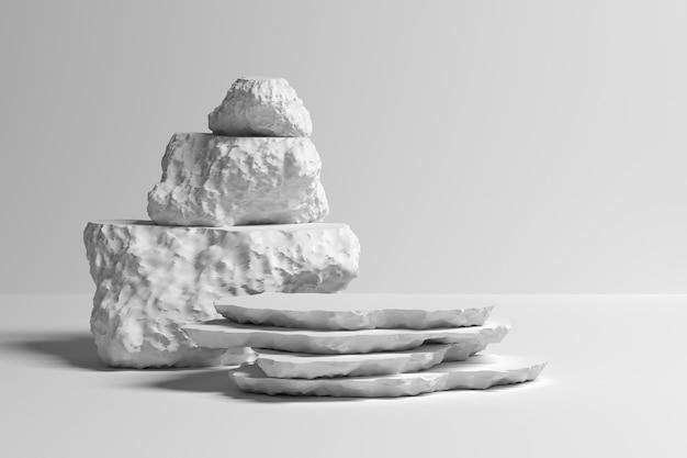 Abstrakte illustration mit stapel dekorativen steinen auf weißem hintergrund. 3d-darstellung.