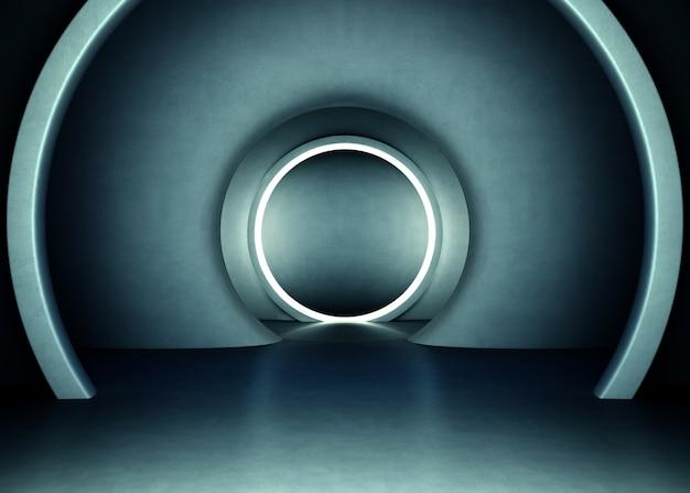 Abstrakte innenarchitektur des modernen ausstellungsraums mit leerem grauem konkretem boden und dunkler wand b