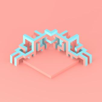 Abstrakte isometrische anordnung einer abbildung des expandierenden würfels 3d