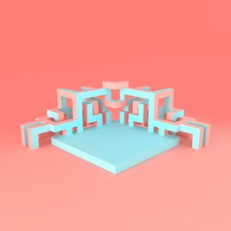 Abstrakte isometrische anordnung für eine expandierende illustration des würfels 3d