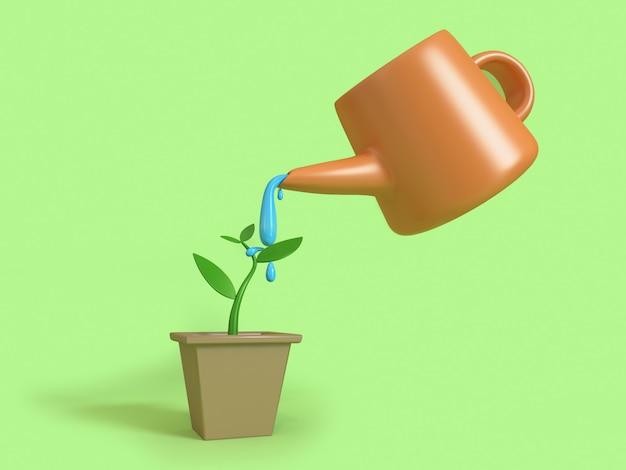 Abstrakte junge pflanze, die grüne wiedergabe der hintergrundkarikatur-art 3d wässert