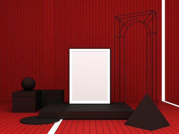 Abstrakte komposition des 3d-renderings. dunkle geometrische formen auf rotem hintergrund für präsentation
