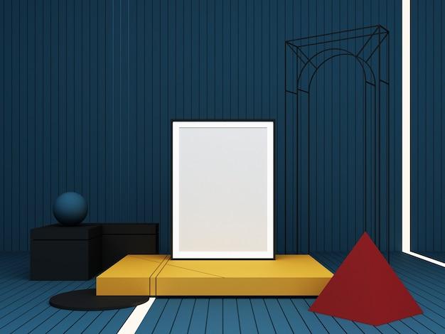 Abstrakte komposition des 3d-renderings. farbgeometrische formen auf blauem hintergrund zur präsentation