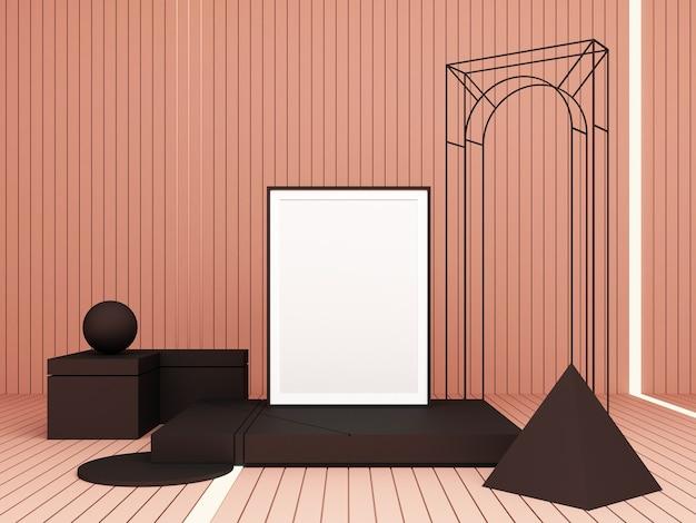 Abstrakte komposition des 3d-renderings. geometrische formen auf rosa hintergrund für präsentation