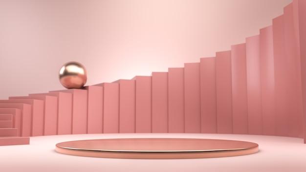 Abstrakte komposition mit rosa treppe, goldener kugel und goldenem podium