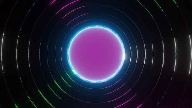 Abstrakte kreishalo-leuchtfarben der 3d-renderingplattform
