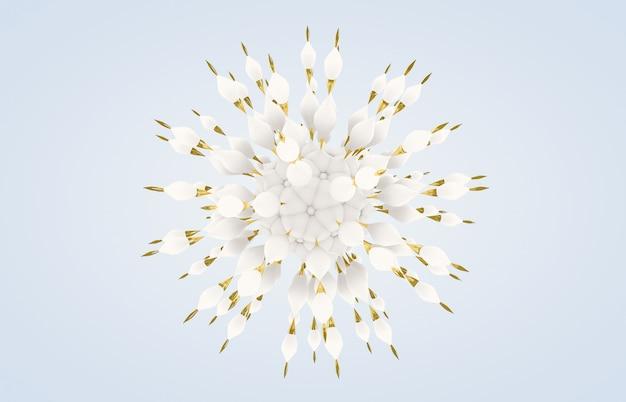 Abstrakte kunst der blume 3d mit schnee- und goldbeschaffenheit. winter-schneeflocke.