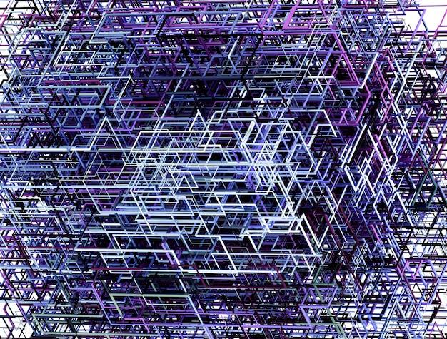 Abstrakte kunst des 3d des surrealen hintergrunds mit einem teil des würfels in der drahtstruktur in der purpurnen farbe des aluminiums