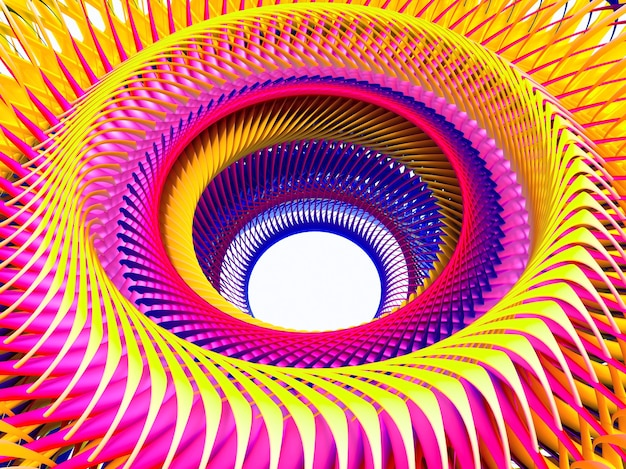 Abstrakte kunst des 3d des surrealen spiralturbinenstrahltriebwerks oder der fremden sonnenblume in der gelben und lila farbe