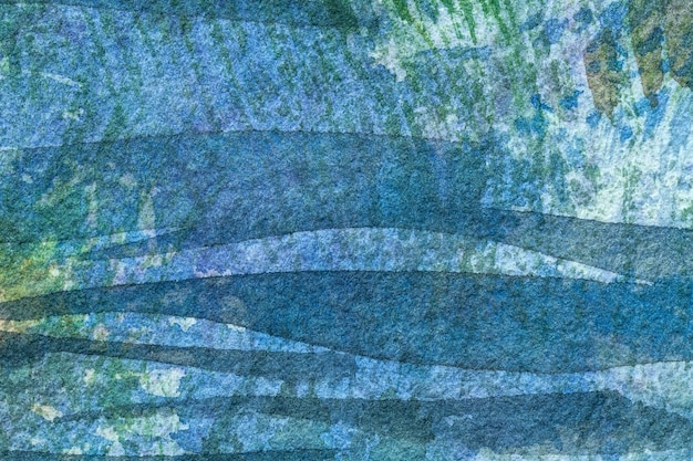 Abstrakte kunst hintergrund marineblau und grüne farben. aquarellmalerei auf papier mit türkisfarbenem farbverlauf.
