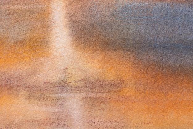 Abstrakte kunst hintergrund marineblau und orange farben. aquarellmalerei auf leinwand mit weichem braunem farbverlauf. fragment der grafik auf papier mit muster. textur hintergrund.