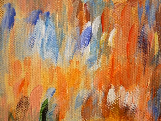 Abstrakte kunst hintergrund ölgemälde auf leinwand farbtextur fragment des kunstwerks pinselstriche von farbe zeitgenössische kunst handgezeichnete orange und blaue pinselstriche