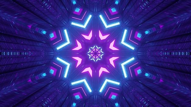 Abstrakte kunst visueller hintergrund 4k uhd 3d-darstellung der fantastischen tunnel-innenarchitektur mit glänzenden neonlichtern, die geometrische schneeflockenförmige ornamente mit reflexionen bilden