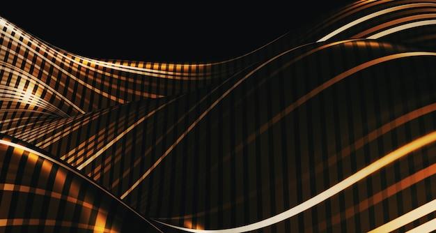 Abstrakte kurve der 3d-illustrationswelle die muster flattern wie ein fluss illusionsoberfläche zukünftiger hintergrund dynamische kurve