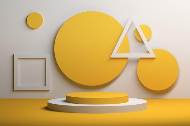 Abstrakte lebendige gelbe komposition mit geometrischen grundformen