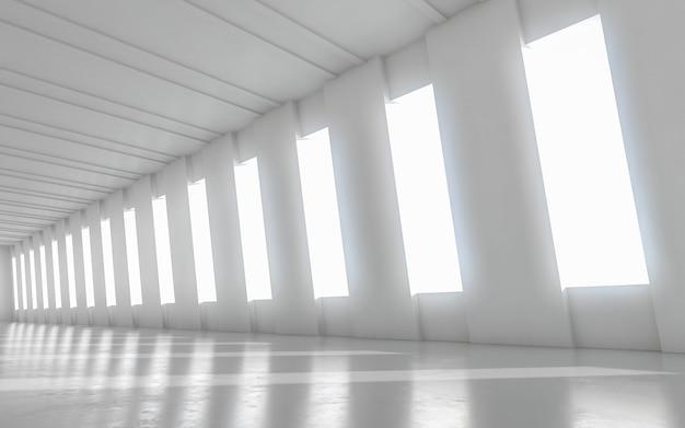 Abstrakte leere belichtete innenarchitektur des korridors. 3d-rendering.