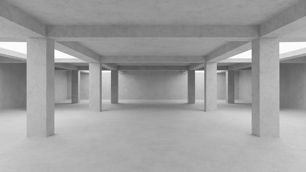 Abstrakte leere betonraumhintergrund-3d-illustration