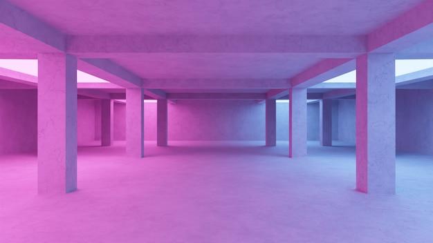 Abstrakte leere konkrete raumhintergrund 3d illustration neon bunt