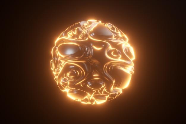 Abstrakte leuchtende neonkugel. abstrakter hintergrund mit futuristischen orange wellenwellen. 3d form mit stroboskop lockiges muster. 3d-illustration