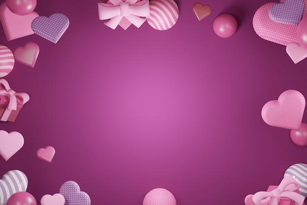 Abstrakte liebesform und geschenk im dunklen rosa hintergrund - 3d-wiedergabe
