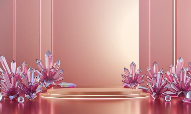 Abstrakte luxuriöse weiche rosa bühne verspotten mit viel ätzendem kristall, schablone für werbeartikel stehend, 3d-rendering.
