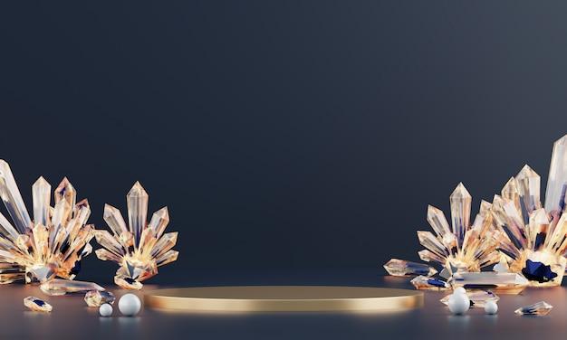 Abstrakte luxusbühnenplattform mit bernsteinkristall, vorlage für werbeprodukt, 3d-rendering.