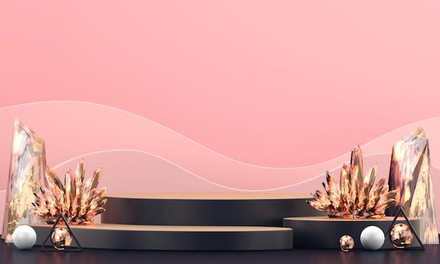 Abstrakte luxusbühnenplattform mit buntem bernsteinkristall für werbeproduktanzeige, 3d-wiedergabe.