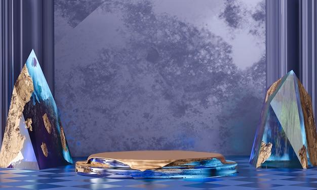 Abstrakte luxusbühnenplattform mit buntem kristall, vorlage für werbeprodukt, 3d-rendering.
