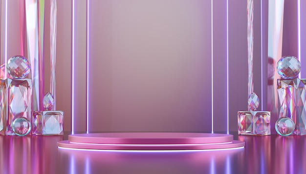 Abstrakte luxusviolett-bühnenmodell mit vielen ätzenden kristallformen, schablone für werbung und produktstand, 3d-rendering.