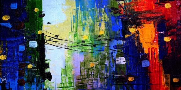 Abstrakte malerei stadtlandschaft auf leinwand hintergrund mit textur