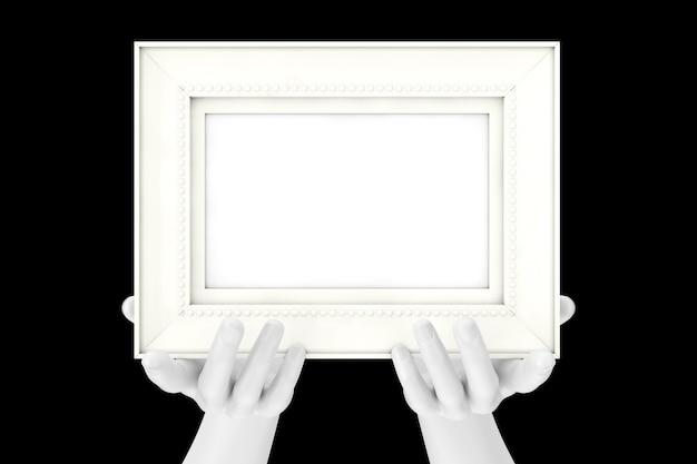 Abstrakte mannequin-hände, die klassischen hölzernen bilderrahmen mit freiem platz für ihr design auf einem schwarzen hintergrund halten. 3d-rendering