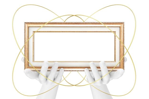 Abstrakte mannequin-hände, die klassischen hölzernen bilderrahmen mit freiem platz für ihr design auf einem weißen hintergrund halten. 3d-rendering