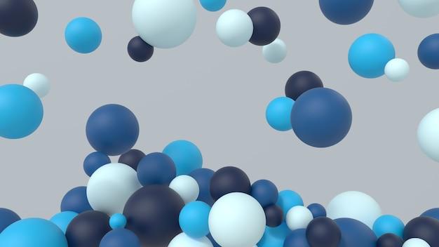 Abstrakte mehrfarbige kugeln minimalistischer moderner hintergrunddesignkugeln formt kaltes 3d-rendering