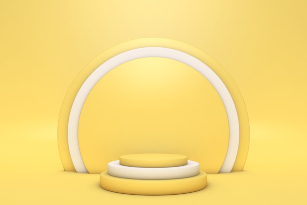 Abstrakte minimale 3d-szene mit geometrischen formen zylinderpodest leuchtend gelbe farbe abstrakter hintergrund szene zum anzeigen von produkten vitrine vitrine 3d-rendering