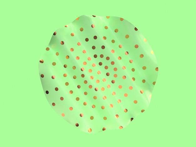 Abstrakte minimale flache szene welle kurve form metallic gold muster grüne farbe 3d-rendering