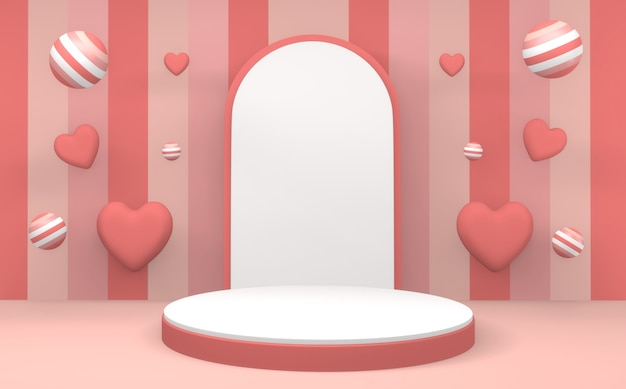 Abstrakte minimale geometrie rosa pastellprodukt podium minimales design. 3d rendern