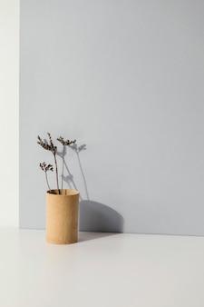 Abstrakte minimale pflanze in einem vasenkopierraum