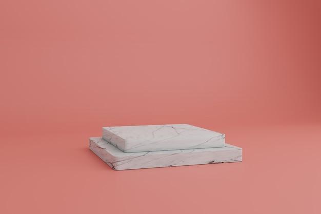 Abstrakte minimale szene 3d rendern mit quadratischen marmorpodesten auf einem korallenhintergrund