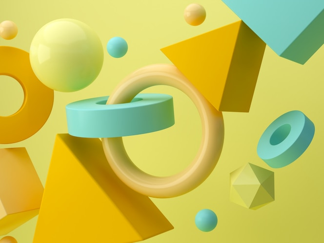 Abstrakte minimale szene des 3d-renderns mit geometrischen formen
