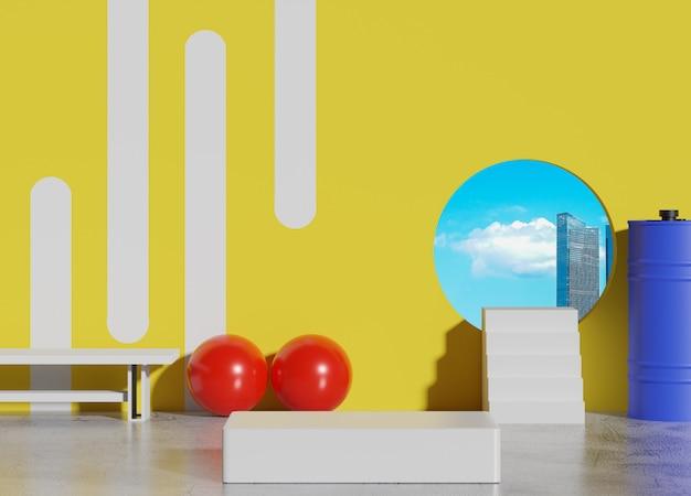 Abstrakte minimalistische geometrische formen 3d. glänzendes luxuspodest für ihr design im trendigen interieur. modenschau bühne, sockel, ladenfront mit blick auf den blauen himmel und die wolken.