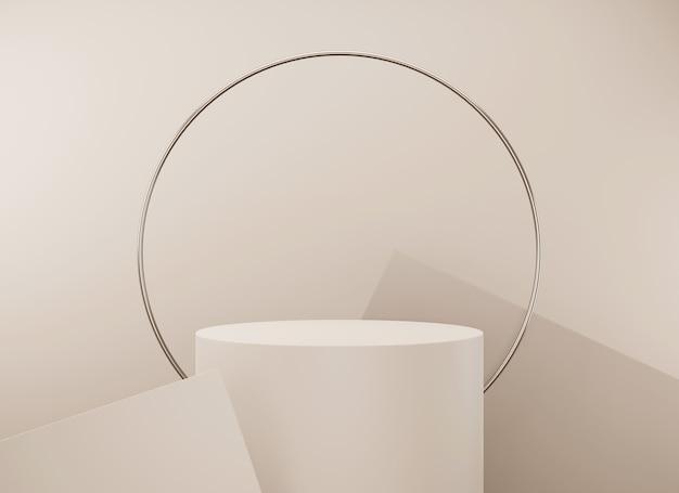 Abstrakte minimalszene mit geometrischen formen leere podestanzeige auf minimalem hintergrund design für produktpräsentation d-rendering